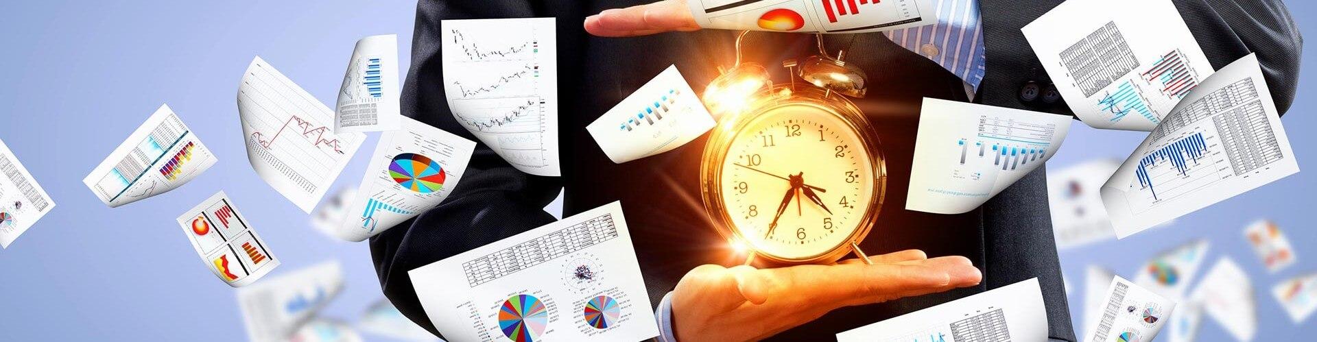 analytics swirling around clock