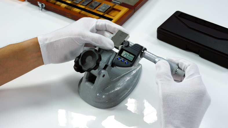 Micrometer Calibration with gauge block in Calibration laboratory